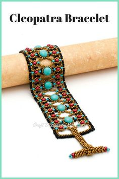 Multiple stitch 2 hole bead bracelet was inspired by Cleopatra. You can learn how to take working with 2 hole beads up to the next level with this bold bracelet fit for a queen. #twoholebeadbracelet #beadedjewelry