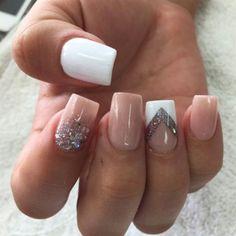 Nude, white, glitter, square nails