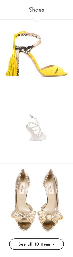 """""""Shoes"""" by alina-chipchikova ❤ liked on Polyvore featuring shoes, sandals, heels, tassel sandals, stiletto heel shoes, yellow heeled shoes, suede shoes, yellow shoes, flats and sapatos"""