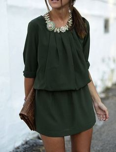 Forest green. fashion, statement necklaces, style, forest green, outfit, green dress, summer nights, chiffon dresses, stunning dresses