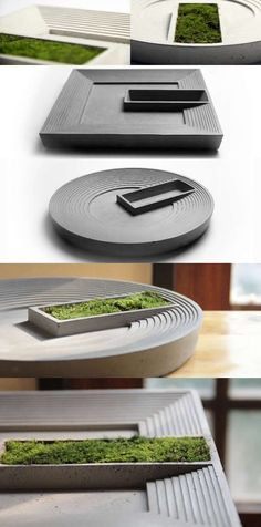 Gray Concrete Modern Succulent Planter Flower Pot Pen Pencil Holder Office Desk Stationery Organizer