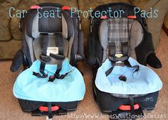 Car Seat Protector Pad {Tutorial}    Materials Needed:  Cotton flannel for the top layer, or any other absorbent material you choose (all fabric should be prewashed)  Rubberized flannel, PUL, or other waterproof material for the bottom layer  Batting or high quality fleece for the middle layer  Serger or sewing machine  2 small pieces of velcro (optional)  Thread