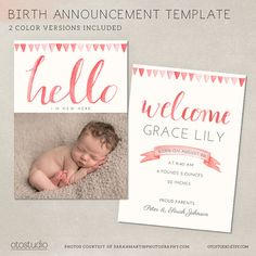 CustomWatercolorBabyAnnouncement  Letterpress And Stationery