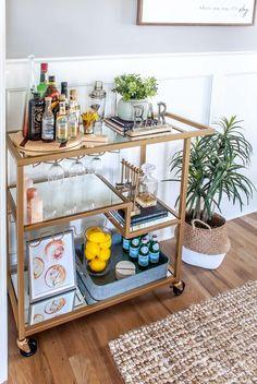 Home Bar Decor, Bar Cart Decor, Bar Cart Styling, Ikea Bar Cart, Bar Trolley, Bar Carts, Drink Cart, Beverage Cart, Bar Sala