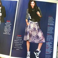 Shrunken sweatshirt and fatty skirt. A look I want to copy, via lucky mag