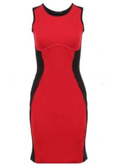 Simple Shirred Waist Tank Dress Red and Black with cheap wholesale price, buy Simple Shirred Waist Tank Dress Red and Black at wholesaleitonline.com !