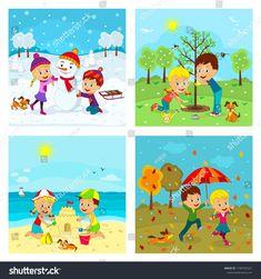 kids,boy and girl at different seasons, illustration,vector girl Toddler Learning Activities, Preschool Activities, Teaching Kids, School Behavior Chart, Jungle Crafts, Baby Zoo Animals, Seasons Activities, Birthday Club, Kids Vector