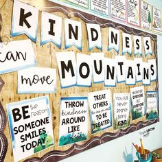 Teachers are you looking for kindness ideas to decorate your door, bulletin board, or elementary school hallway? Add these kindness quote reflection a. Hallway Bulletin Boards, Counseling Bulletin Boards, Kindness Bulletin Board, Elementary Bulletin Boards, Bulletin Board Letters, Back To School Bulletin Boards, Bulletin Board Display, School Counseling, Elementary Schools