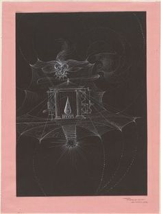 """Hans Bellmer (German, 1902–1975) The Palace of King Ubu 1936 White ink on black paper mounted on pink paper 15 7/8 x 11 7/8"""" (40.3 x 30.2 cm)"""