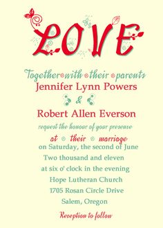 Romantic And Creative Love Wedding Invitations IWI010  $1