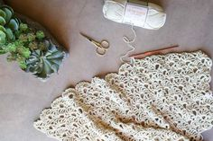 """Crochet open fan stitch worked in LB Collection Cotton Bamboo yarn in the color """"Magnolia."""" Free pattern using this lacy, decorative crochet stitch!"""
