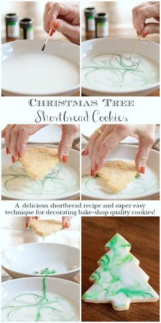 Christmas Shortbread Cookies – The Café Sucre Farine Christmas Shortbread Cookies These one-bowl, no-mixer Christmas Tree Shortbread Cookies are not only delicious but the pretty decorating technique is super simple! Christmas Tree Cookies, Christmas Sweets, Christmas Cooking, Holiday Cookies, Holiday Baking, Christmas Desserts, Holiday Treats, Holiday Recipes, Simple Christmas