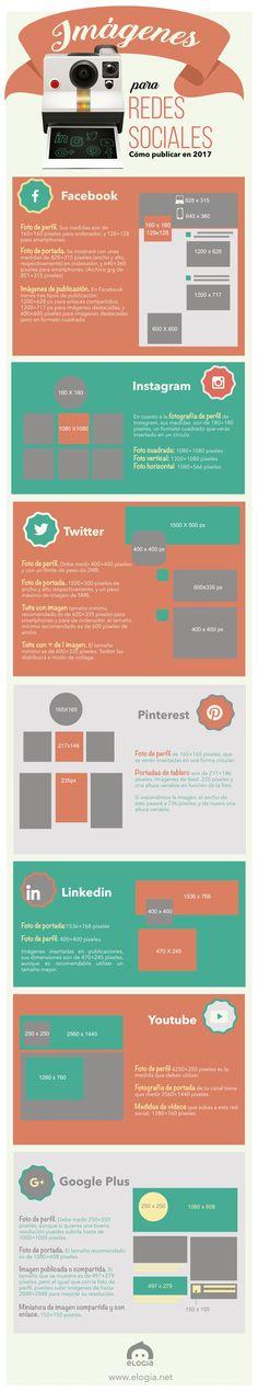 Hola: Una infografía sobreTamaños de la imágenes en Redes Sociales. Vía Un saludo