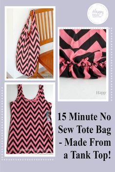 DIY No Sew Tote Bag Idea - made from a tank top! #nosew #nosewtotebag #upcycletanktop #upcycle #diytotebag #diynosewtotebagidea Cool Diy Projects, Craft Projects, Diy Tote Bag, Working With Children, Bag Making, Tankini, Upcycle, Tank Tops, Sewing