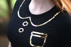 DIY: sequin trompe l'oeil Peter Pan collar t-shirt, use it for other b& w patterns. like stripes.....etc....