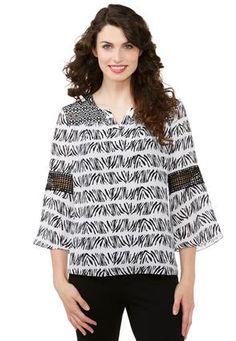 ab901bfb0d7f1 Cato Fashions Crochet Sleeve Dressy Top  CatoFashions Plus Size Shirts