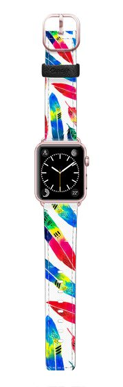 Casetify Apple Watch Band (42mm) Saffiano Leather Watch Band - Tropical Quills by Amaya #Casetify @casetify #Casetify #CasetifyArtist #quills #tropical #feathers #watchband #watch