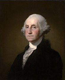 George Washington 1732-1799,  1775-1783 Oberbefehlshaber im Unabhängigkeitskrieg, 1789 - 1797 erster Präsident der USA
