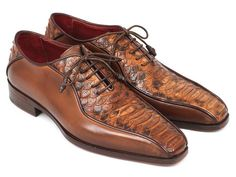 "Paul Parkman Brown Genuine Python & Calfskin Bicycle Toe Oxfords (ID#94DE14). Brown genuine python with hand-painted calfskin upper. Bicycle toe style men's oxford handmade shoes. Natural leather sole and bordeaux leather lining. <a href=""https://www.flauntitculture.com/paul-parkman-mens-brown-genuine-python-calfskin-bicycle-toe-oxfords-id-94de14-3"">5% OFF - BUY NOW!</a>"