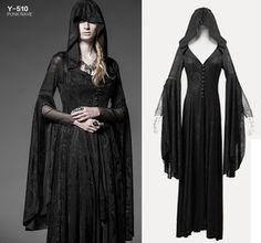 Gothic Punk Rave Damen Mantel Kapuze Vampir vampire Jacke coat lang long NEU WGT
