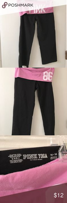 Victoria's Secret pink yoga crops excellent cond M Excellent condition purple fold over PINK Victoria's Secret Pants Ankle & Cropped