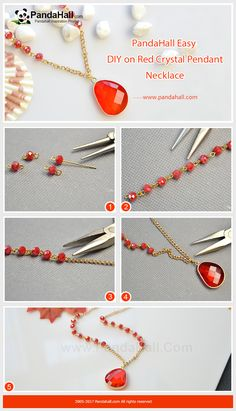 Pandahall DIY Craft on Red Crystal Pendant Necklace Use red glass beads, eyepins and twist chains to make a necklace chain and then add a red glass nugget pendant in the middle. Finally, you will get a bright necklace! Diy Jewelry Necklace, Bead Jewellery, Diy Earrings, Metal Jewelry, Custom Jewelry, Jewelry Crafts, Beaded Jewelry, Handmade Jewelry, Necklace Chain