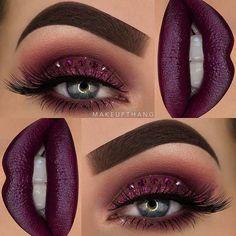 Purple Smokey Eye + Dark Purple Lips