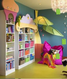 girls bedroom kids custom book shelves leaves from ikea playroom play area