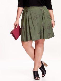 Women's Plus Printed Pocket Skirts