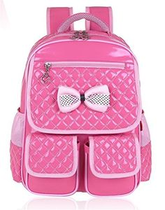 Vere Gloria Children School Backpack Bags for Primary Girls Students PU  Leather Bow (Rose) 6ca93d6de77b7