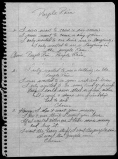 "History In Pictures na Twitterze: ""Prince's handwritten lyrics to ""Purple Rain."" https://t.co/IVpQHZpBIH"""
