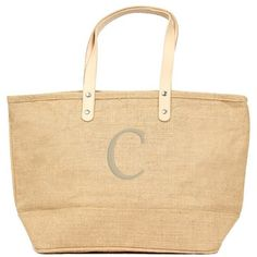 Cathy's Concepts 'Nantucket' Monogram Jute Tote ($35) ❤ liked on Polyvore featuring bags, handbags, tote bags, jute tote, zip top tote, monogrammed jute tote bags, beige tote and beige purse