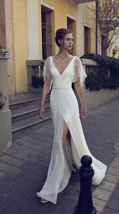 simple and casual split leg bridal dresses with half flutter sleeves Half Sleeve Dresses, Prom Dresses With Sleeves, Sexy Dresses, Half Sleeves, Party Dresses, Half Sleeve Wedding Dress, Simple Wedding Dress With Sleeves, Dress Party, Simple White Dress