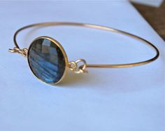 Blue Labradorite 14k Gold Tension Bracelet by JLaurynDesign
