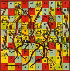 Vintage Snakes and Ladders board game
