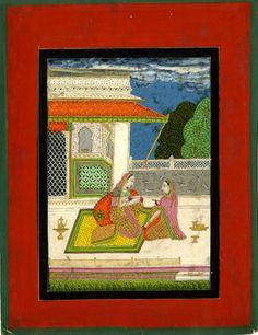 Dhanasri Ragini. Woman drawing portrait of lover. c.1790-1810. Rajasthan School.