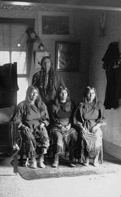 Quanah Parker and three wives - Comanche 1892
