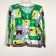 63bfd772dd6ab3 CAbi #861 Women's Green Key Print Button Front Cardigan Sweater Size Medium  34K #CAbi