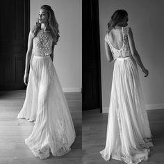 Cheap 2016 de bohemia gasa del cordón de dos piezas playa vestido sin espalda vestido de la novia robe de mariage vestidos de noiva trouwjurk, Compro Calidad Vestidos de Novia directamente de los surtidores de China:
