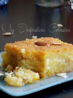 Kalb elouz ou Chamia au lben   Gâteau de semoule au coeur d'amande arrosé de sirop froid