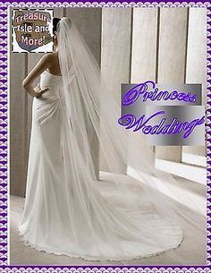 232- Ivory Simple 1 Tier Bridal Veil Cathedral Length Satin Edges Comb