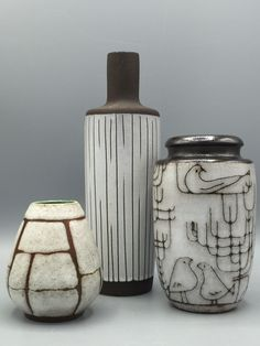 Ruscha, Strehla 980, Elly & Wilhelm Kuch handmade and handdecorated vase with the birds. Uncommon Ceramics.
