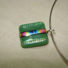 Green opal on clear fused glass with dichroic necklace | dancinghorsestudio - Jewelry on ArtFire  $20