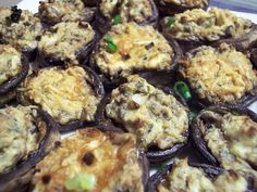 Cream Cheese and Pesto Stuffed Mushrooms Shared on https://www.facebook.com/LowCarbZen | #LowCarb #Appetizers #PartyFood #SideDish