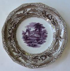 Antique Early Staffordshire Circa 1850-60  Purple Brown Two Color Transferware Plate Working Farm Windmill Trellis Eon