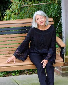 Growing out our gray hair is a hugely personal decision. One that often requires lots of time and thought and if you're like me, inner turmoil! Grey Hair Young, Gray Hair, Black Lace Tops, Aging Gracefully, Silver Hair, Feminine Style, Black Women, Bell Sleeve Top, Crocheted Lace