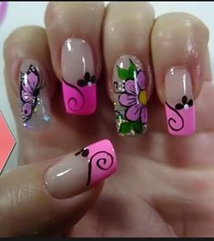❤Too cute pink nails with flowers and glitter nail art. New Nail Designs, Beautiful Nail Designs, Toe Nails, Pink Nails, Long Nail Art, French Manicure Nails, Sparkle Nails, Flower Nail Art, Cute Acrylic Nails