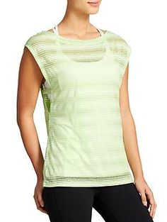 Vitality Tee - Super sheer stripes in a loose-fitting silhouette makes this top the perfect throw-on-and-go layer after practice.