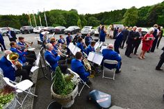 Band performing outside a Castle in the west of Ireland for a wedding reception. Belleek Castle