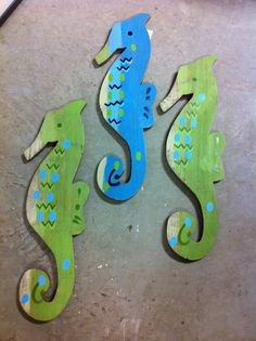 Wooden sea horses for wall